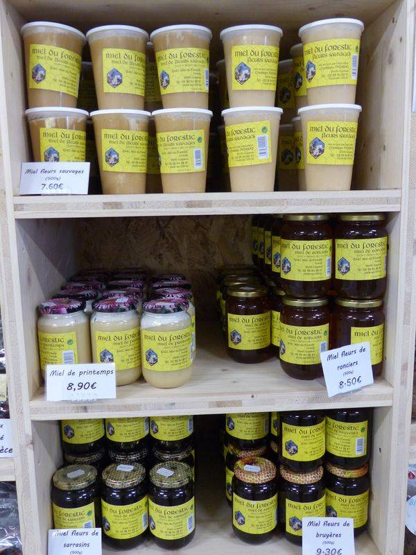 Miel proposé au magasin de la Ferme de Keroudy