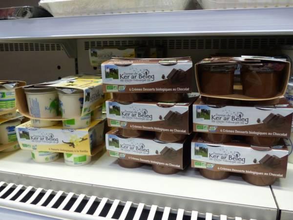 Crèmes dessert propsées au magasin de la ferme de Keroudy